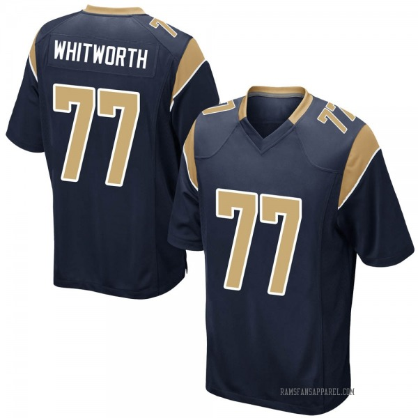 Youth Andrew Whitworth Los Angeles Rams Game Navy Team Color Jersey